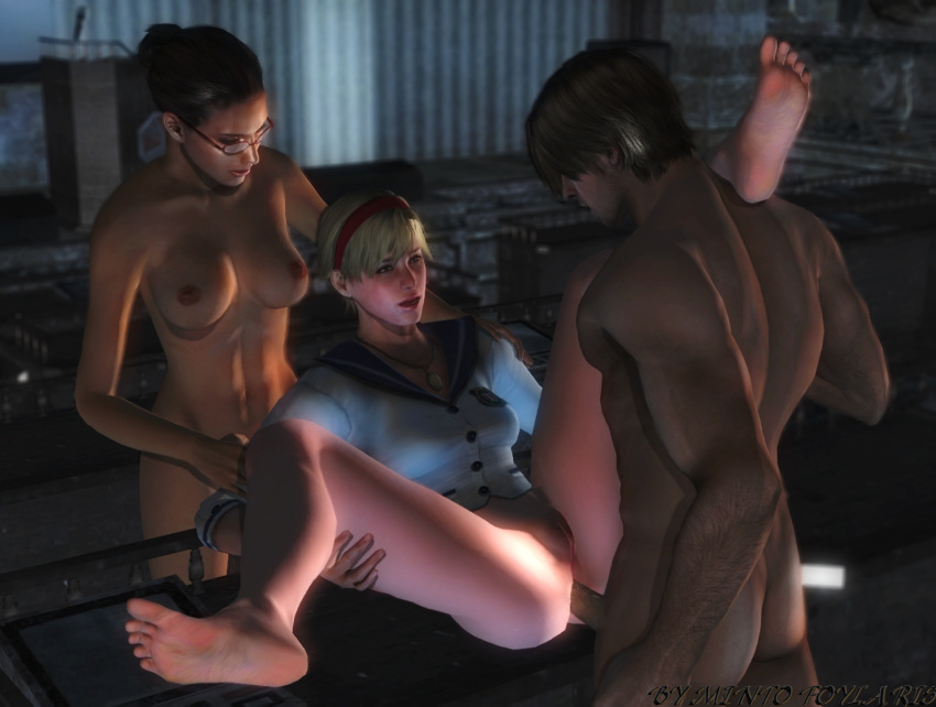 3d anal ass bottomless breasts erect_nipples erection female hairless_pussy human ingrid_hunnigan leon_s_kennedy male mintofoularis mod naked nipples penis pussy resident_evil sherry_birkin spread_legs straight