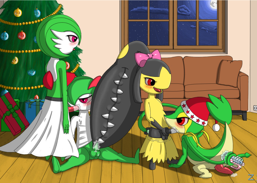 christmas gardevoir kirlia male mawile multiple_males no_humans pokemon snivy yaoi