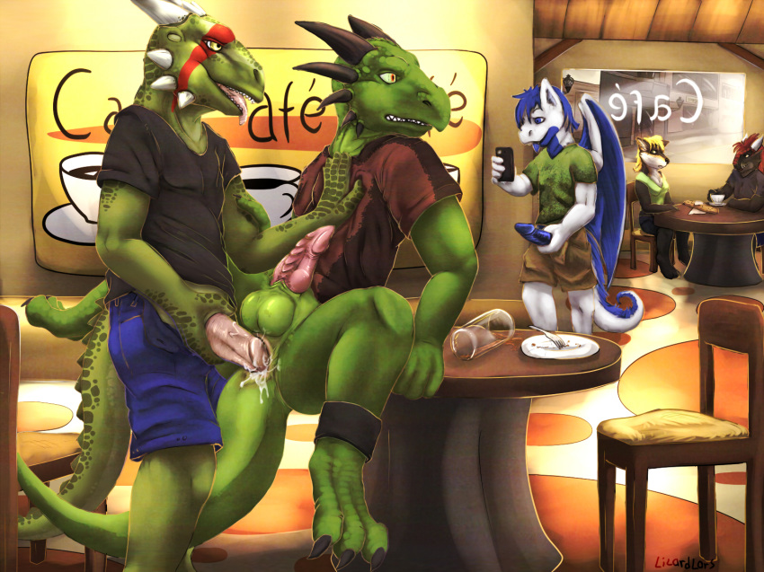 anal anthro argonian dragon lizardlars male multiple_males no_humans public scalie sex the_elder_scrolls video_games yaoi