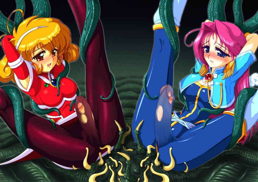 2girls corrector_yui crying futanari multiple_girls tear tentacle torn_clothes