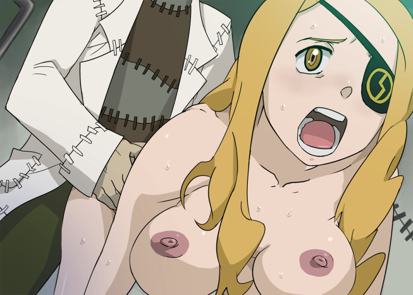 all_fours blonde_hair blush breasts doggy_style dr_franken_stein eyespatch franken_stein gold_eyes labcoat large_breasts long_hair marie_mjolnir nipples nude open_mouth rape scream screaming sex soul_eater stein sweat teeth tongue torso_grab yellow_eyess