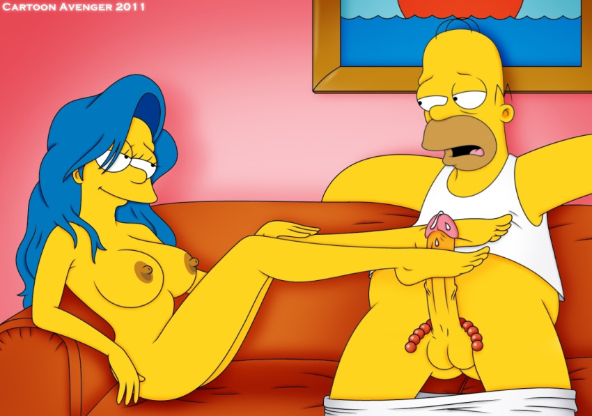 blue_hair cartoon_avenger color feet female footjob hair homer_simpson human indoors long_hair male marge_simpson nudity skin straight the_simpsons yellow_skin