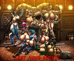 8girls areola_slip areolae ass attlantic backboob black_hair blonde_hair blue_hair bodysuit breast_lift breast_press breast_squeeze breasts brown_hair erect_nipples frost_(mortal_kombat) gloves hammer huge_breasts jade_(mortal_kombat) johnny_cage kitana large_areolaee mileena milf mortal_kombat netherrealm_studios nipples sheeva sindel sonya_blade tail thick_thighs thighhighs wide_hips