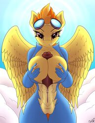 2014 anthro anthrofied bedroom_eyes big_breasts big_penis biting_lip breasts camel_toe dickgirl equine eyewear female friendship_is_magic goggles hair herm horny intersex looking_at_viewer mammal my_little_pony nipples penis replica seductive seductive_eyes spitfire_(mlp) undressing wonderbolts_(mlp)