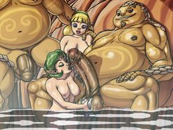 2girls bath blonde_hair breasts fado fat_man fellatio foreskin goron green_hair huge_cock mixed_bathing nikcesco nintendo nipples nude ocarina_of_time oral penis saria the_legend_of_zelda uncensored wet