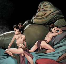 2boys androgynous ass balls bikini_top braid brown_hair choker crossdressing femboy girly jabba_the_hutt jj_frenchie jjfrenchie joel_jurion loincloth male penis princess_leia_organa rule_63 single_braid slave_bikini star_wars testicles trap