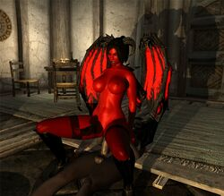 animated animation black black_hair black_lipstick boots cowgirl demon fish_net fishnet futa futa_on_futa gif grin horns horse_cock horsecock life_drain loop pony pony_boots red red_eye red_skin reverse_cowgirl sie_succubus skyrim stockings succubus teeth wings