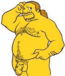 balls bara chest_hair chubby comic_book_guy foreskin male male_only penis pubic_hair shy solo solo_male stomach_hair the_simpsons wkdart