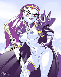 armor blue_skin blush breasts cape circlet cosplay earrings epictones gloves hand_on_hip long_hair looking_at_viewer naga_the_serpent navel necklace nipples nude purple_hair pussy red_eyes risky_boots shantae shoulder_spikes skull slayers solo sword thighlet weapon wide_hips