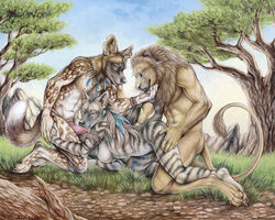 african_wild_dog anthro breasts canine feline fellatio female gangbang hyena interspecies lion male mammal nude oral oral_sex rukis sex straight threesome traditional_media tribal western_art