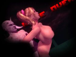 3d animated arm_grab blonde_hair breasts from_behind game_over juliet_starling lollipop_chainsaw twintails