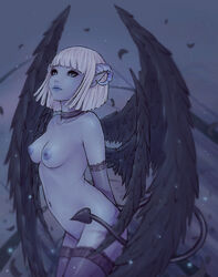 arms_behind_back black_wings blue_skin breasts choker demon_girl demon_horns demon_tail elbow_gloves feathered_wings feathers female gloves grey_eyes horns multiple_wings navel nipples nude original pointy_ears short_hair silver_hair solo soranamae standing succubus tail thighhighs wings
