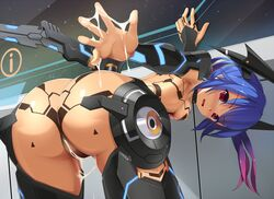 ass blue_hair blush bodysuit breasts cum cum_on_body cum_on_lower_body eto female gradient_hair long_hair looking_at_viewer looking_back multicolored_hair open_mouth outstretched_arm phantasy_star phantasy_star_online_2 quna_(pso2) revision solo twintails