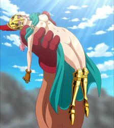 areolae armor braid breasts cape closed_eyes female gloves greaves helmet long_hair medium_breasts navel nipples nude nude_filter one_piece photoshop pink_hair pussy rebecca_(one_piece) uncensored