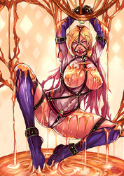 artist_request bdsm blond_hair blue_eyes bondage cape dc exposed_breasts female gagged knee_boots leotard nipples power_girl source_request superhero torn_clothes