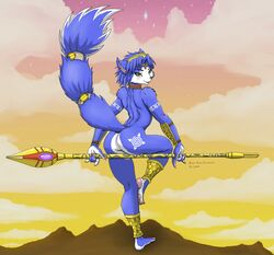 ass blue_hair blush canine dr_comet female fox furry green_eyes krystal looking_at_viewer looking_back nude smile star_fox tail weapon