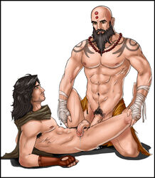 abs anal balls cum cum_on_floor demon_hunter diablo diablo_3 duo gay human male male_only monk nipples on_back penetration penis sex video_games