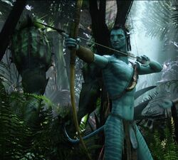 2015 abs alien archer arrow avatar balls biceps blue_body blue_skin bow clothed clothing edit flaccid forest hair half-dressed humanoid hunter invalid_tag jake_sully james_cameron's_avatar jungle knife loincloth male movie muscles na'vi necklace nipples pandora pecs penis photo_manipulation photomorph thurinion tree vein