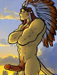 abs anthro arms_folded balls bgn biceps big big_penis chieftain erection feathers feline fur furry gay lion male mane muscles penis precum sidern solo solo_male sunset tribal