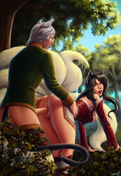 ahri animal_ears anus ass bent_over black_hair breasts dress facial_marks female fox_ears from_behind league_of_legends long_hair male nipples open_mouth penis personalami pussy sex sleeves tail vaginal_penetration yellow_eyes