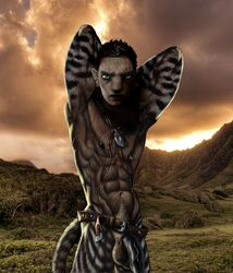 2015 abs anatomically_correct anthro armpits arms_up balls belt biceps big_muscles big_penis black_lips black_nipples black_nose black_penis blue_eyes brown_fur brown_hair dagi-raht ear_ring feline flaccid fur furry hair half-dressed humanoid_penis khajiit landscape looking_at_viewer male male_only mammal muscles muscular nature navel necklace nipple_piercing nipples no_humans nude outside pecs pendant penis photoshop piercing pinup pose pubes pubic_hair scar scars skyrim solo striped_fur stripes tagme tail testicles the_elder_scrolls toned triceps vein veiny_penis video_games