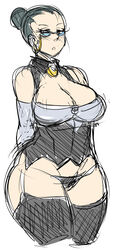 arms_behind_back bare_shoulders black_panties breasts cleavage cleavage_cutout curvy earrings elbow_gloves friendship_is_magic garter_straps glasses gloves grey_hair hair_bun highres huge_breasts human humanized jewelry maniacpaint milf my_little_pony my_little_pony_friendship_is_magic panties personification rimless_glasses short_hair sketch solo sue_pie thighhighs underwear updo