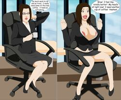 1girl areola avatar_the_last_airbender azula before_and_after bimbo bimbofication breast_expansion breasts bursting_breasts business_suit busty butt_expansion cleavage coffee coffee_mug corruption female female_only human lipstick long_hair navel skirt solo surakuraanon tagme transformation voluptuous