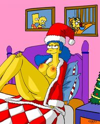 bed breasts color female female_only gkg human indoors marge_simpson nipples sitting solo tagme the_simpsons