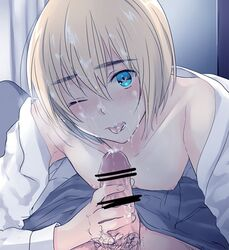 armin_arlert attack_on_titan blonde_hair blue_eyes censored cum facial gay male male_only nipples open_shirt oral penis pov tagme tongue yaoi