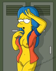 blue_hair bottomless breasts clothes color ears eyes female female_only flat_color front_view hair human indoors looking_at_viewer marge_simpson mouth open_clothes open_eyes open_mouth open_shirt pussy round_ears skin solo standing straight_hair the_simpsons thefightingmongooses yellow_skin