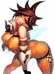 arched_back bent_over black_gloves bodysuit breasts brown_eyes brown_hair closed_mouth cross-laced_clothes elbow_gloves erect_nipples expressionless female fumio_(rsqkr) fur_trim gloves index_finger_raised large_breasts looking_at_viewer overwatch short_hair simple_background skin_tight solo spiked_hair tracer white_background