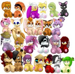 amy_rose blaze_the_cat breasts bunnie_rabbot conquering_storm cosmo_the_seedrian cream_the_rabbit female fiona_fox hair julie-su lien-da long_hair lupe_wolf marine_the_raccoon mina_mongoose nicole_the_lynx nipples rouge_the_bat sally_acorn sega shade_the_echidna sonia_the_hedgehog sonic_(series) tails tikal_the_echidna vanilla_the_rabbit wave_the_swallow