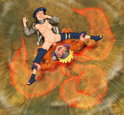 1girl 1guy big_breasts blue_eyes blue_hair breasts headband hyuuga_hinata kunoichi kyuubi monster naruto navel ninja nipples possessed red_eyes rosselito short_hair spread_legs studio-pirrate tail uzumaki_naruto yellow_hair