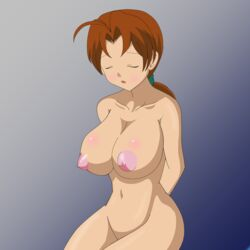 bottomless breasts brown_hair color delia_ketchum exposed_breasts female female_only hair human light_skin nudity pokemon single single_female skin topless