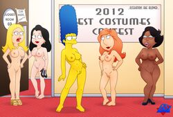 american_dad breasts color crossover dark-skinned_female donna_tubbs family_guy female female_only francine_smith hayley_smith human lois_griffin marge_simpson multiple_females the_cleveland_show the_simpsons wdj
