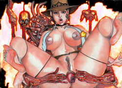 anal anal_prolapse areola belt blue_eyes breasts cowgirl demon feet female fire gore guro hat hell looking_at_viewer monster nude open_mouth prolapse rape sex skull tag_me uncensored wtf
