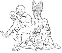 3boys alien android bad_anatomy brothers cell_(dragon_ball) cooler dangling_testicles deep_penetration double_penetration dragon_ball_z frieza incest large_penis lineart lips looking_away looking_back open_mouth penis precum prehensile_tail scaly seraficreverie_(artist) testicles yaoi