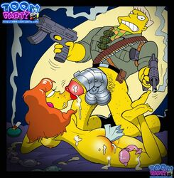 ass bottomless color cum female gun human kneeling male nude penis rainier_wolfcastle straight tagme the_simpsons toon-party
