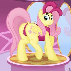 anus back_turned bunnysuit cutie_mark equine feathers female fluttershy_(mlp) friendship_is_magic fur furry_only hair hooves horse inside long_hair looking_at_viewer looking_back mammal mirror my_little_pony no_humans pegasus pink_hair pony presenting pussy putinforgod raised_tail solo teal_eyes wings