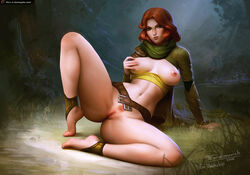 barefoot belt bottomless bow_(weapon) breasts dandelion defense_of_the_ancients dota_2 female flower green_eyes looking_at_viewer lyralei navel nipples on_floor pubic_hair pussy red_hair scarf signature solo tarakanovich thighs uncensored weapon