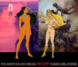 2girls black_hair blonde_hair breasts crossover dark-skinned_female dark_skin dark_skinned_female edit espioartwork female female_only masters_of_the_universe naked native_american nipples nude photoshop pocahontas pocahontas_(character) pussy she-ra vagina