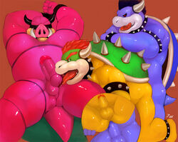 3_fingers 3boys 5_fingers anal anal_penetration anal_sex anus ass barefoot blue_hair blue_skin boar bowser chubby collar dark_bowser dragon fang fat fellatio from_behind gay green_shell group_sex hair horns iceman1984 interspecies king koopa large_penis licking lizard male male_only midbus monster nintendo nude obese open_mouth oral overweight penis pig pink_skin plain_background precum red_eyes red_hair reptile royalty saliva scarf sex shell shiny smb smile smirk snout spikes spiky_shell spit super_mario_bros. tail testicles threesome tied tongue tongue_out tooth turtle yaoi yellow_skin