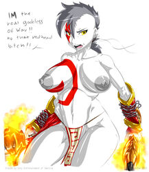 breasts color exposed_breasts female female_only fire front_view gblastman god_of_war kratos rule_63 skin solo white_skin