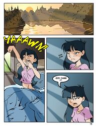 1girl black_hair blue_eyes breasts camp_sherwood comic fairly_oddparents long_hair pink_shirt small_breasts trixie_tang