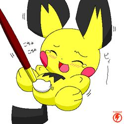 1:1 blush closed_eyes color female female_only front_view fur furry_ears nude open_mouth paintbrush pichu pointy_ears pokemon solo tagme tail tear topaz white_background yellow_fur