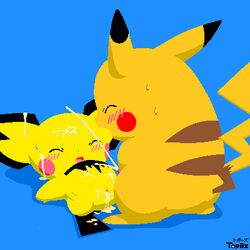 blue_background blush closed_eyes color cum female flat_color fur furry_ears interspecies lying male nude on_back pichu pikachu pointy_ears pokemon raised_tail standing tagme tail topaz yellow_fur