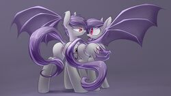 2015 anus ass bat_pony cutie_mark duo equine fan_character female female/female feral hair mammal membranous_wings my_little_pony open_mouth purple_hair pussy red_eyes smile underpable wings