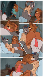 ? anthro baloo bodysuit breasts clothed clothing comic crossdressing disney erection fellatio fuf fur girly half-dressed heart kit_cloudkicker male male/male nipples oral penetration penis pussy rubber sex skinsuit talespin titjob
