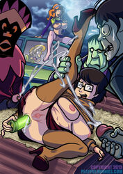 2013 2girls anal_insertion brown_hair cum daphne_blake female glasses high_heels human male playfulhunnies red_hair scooby-doo shaggy straight uncensored velma_dinkley