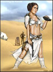 1girl 2006 blaster breasts brown_eyes brown_hair c-3po cleavage desert droids erect_nipples female navel princess_leia_organa r2-d2 ripped_clothing shabby_blue small_breasts star_wars sweating tatooine torn_clothes torn_clothing